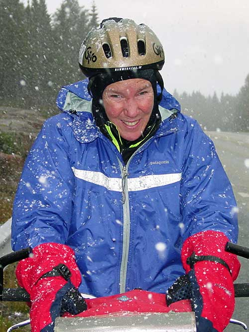 cycling in snowy Sweden